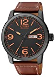Citizen Herren-Armbanduhr XL Analog Quarz Leder...