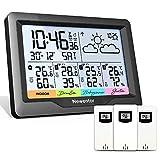 Newentor Wetterstation Funk mit 3 Außensensor...