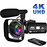 Video Camcorder 4K Videokamera mit WiFi 3,0-Zoll...
